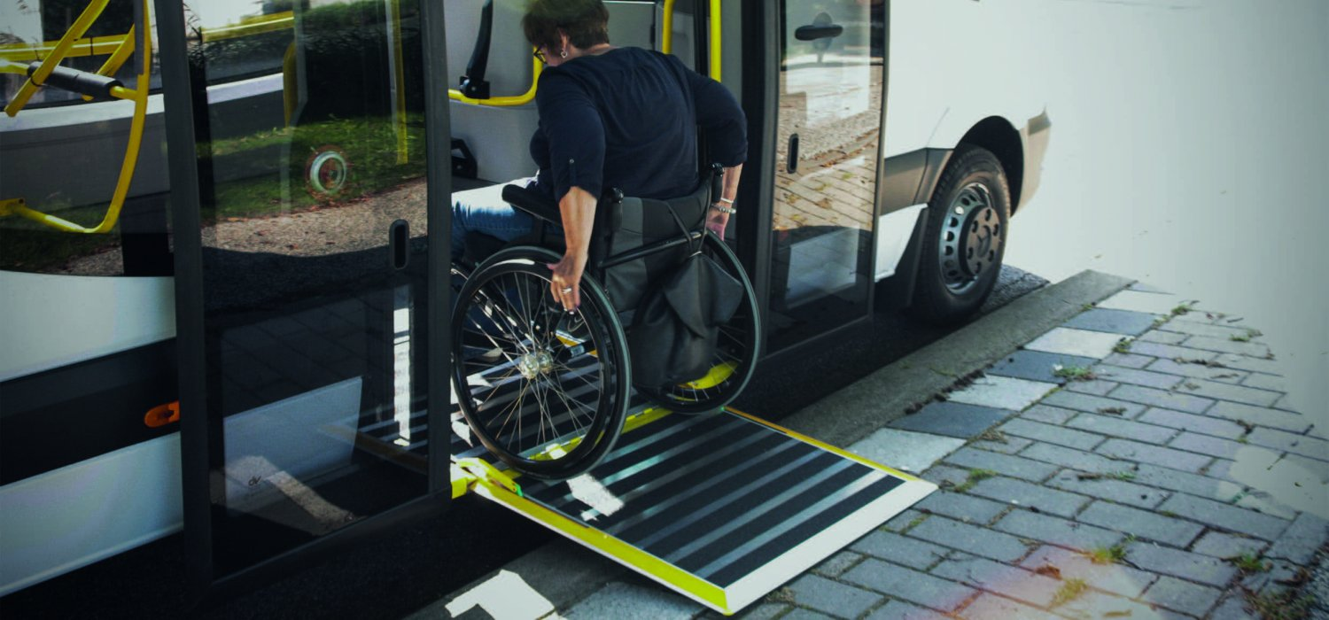 Wheelchair ramp with person