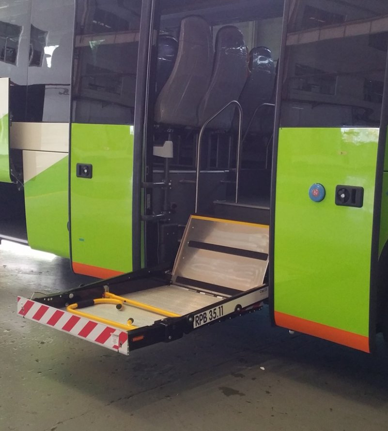 RPB 35.11 wheelchair lifts installed in a King Long bus